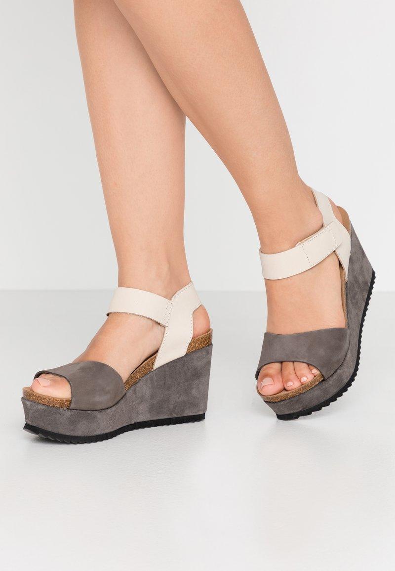 MAHONY - PATTY - High heeled sandals - grey/beige
