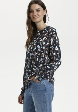Blouse - blue brown graphical paint