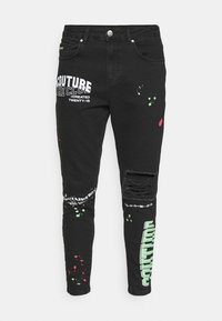 The Couture Club - NEON GRAFITTI CARROT FIT JEANS - Jeans slim fit - washed black - 4