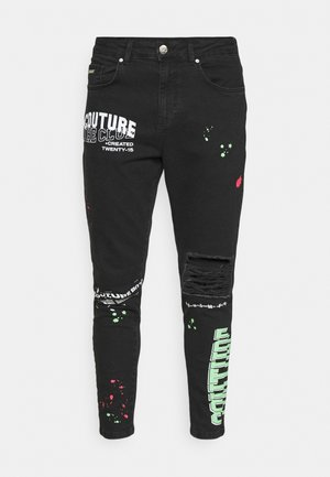 NEON GRAFITTI CARROT FIT JEANS - Jean slim - washed black