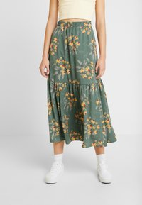 Monki - MANDY SKIRT - Falda larga - green flower - 0