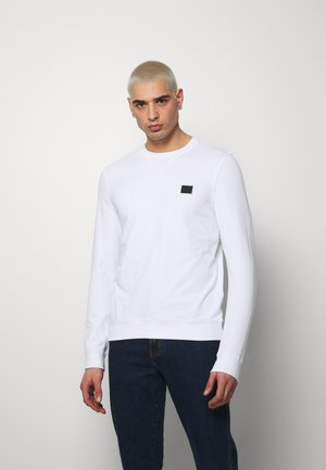 FELPA GIROCOLLO BASIC CON PLACCHETTA - Sweatshirt - white