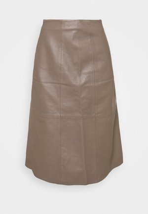 MARVIN - Leather skirt - grey