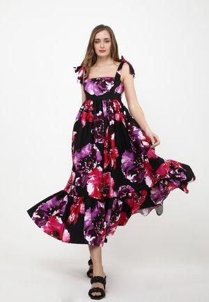 Maxi dress - schwarz, himbeere