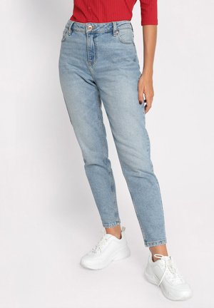 GEWASCHENE MOM JEANS - Jeans Tapered Fit - denim double stone
