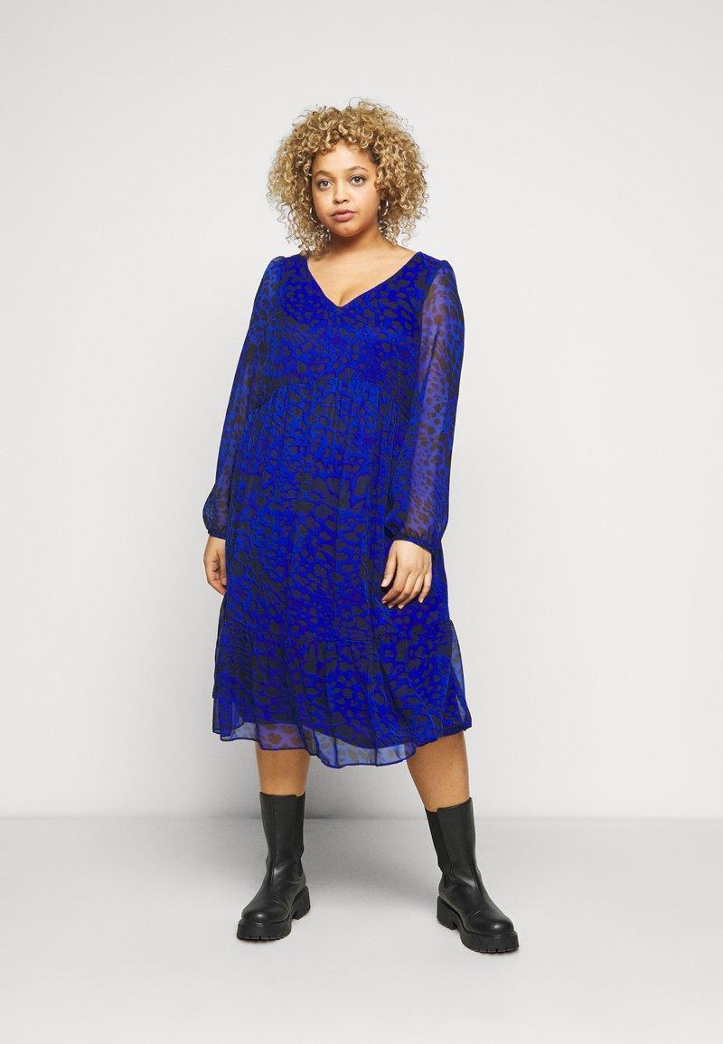 Evans - ANIMAL DRESS - Day dress - blue