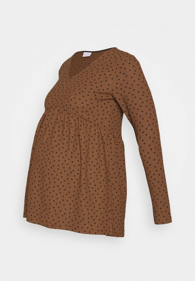 MLNILLE  TOP - T-shirt à manches longues - glazed ginger/black dots