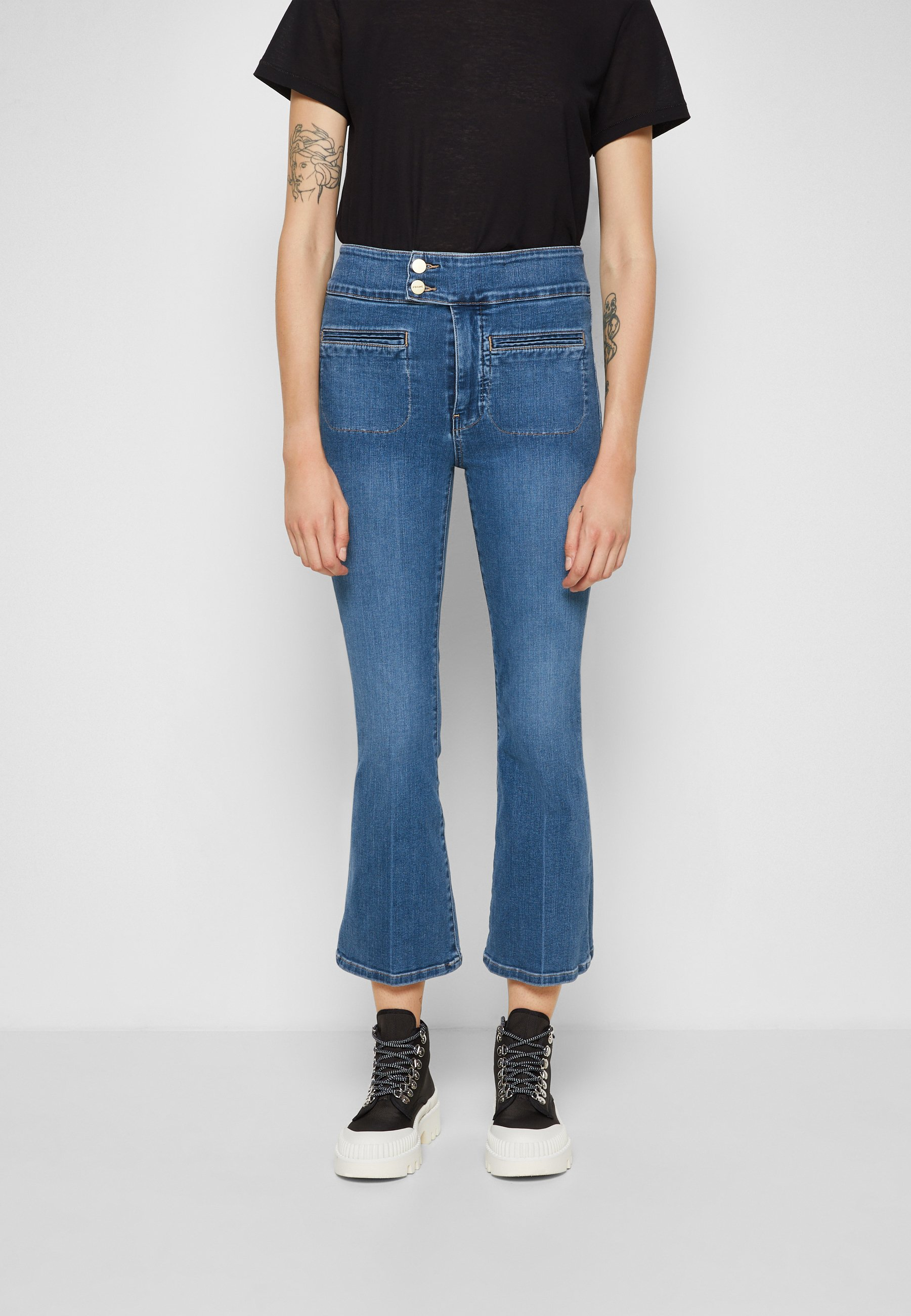 Damer LE HARDY CROP FLARE - Flared jeans