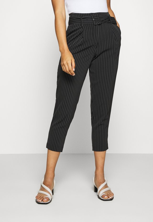 STRIPE COVERED BUCKLE MILLE - Pantalon classique - black