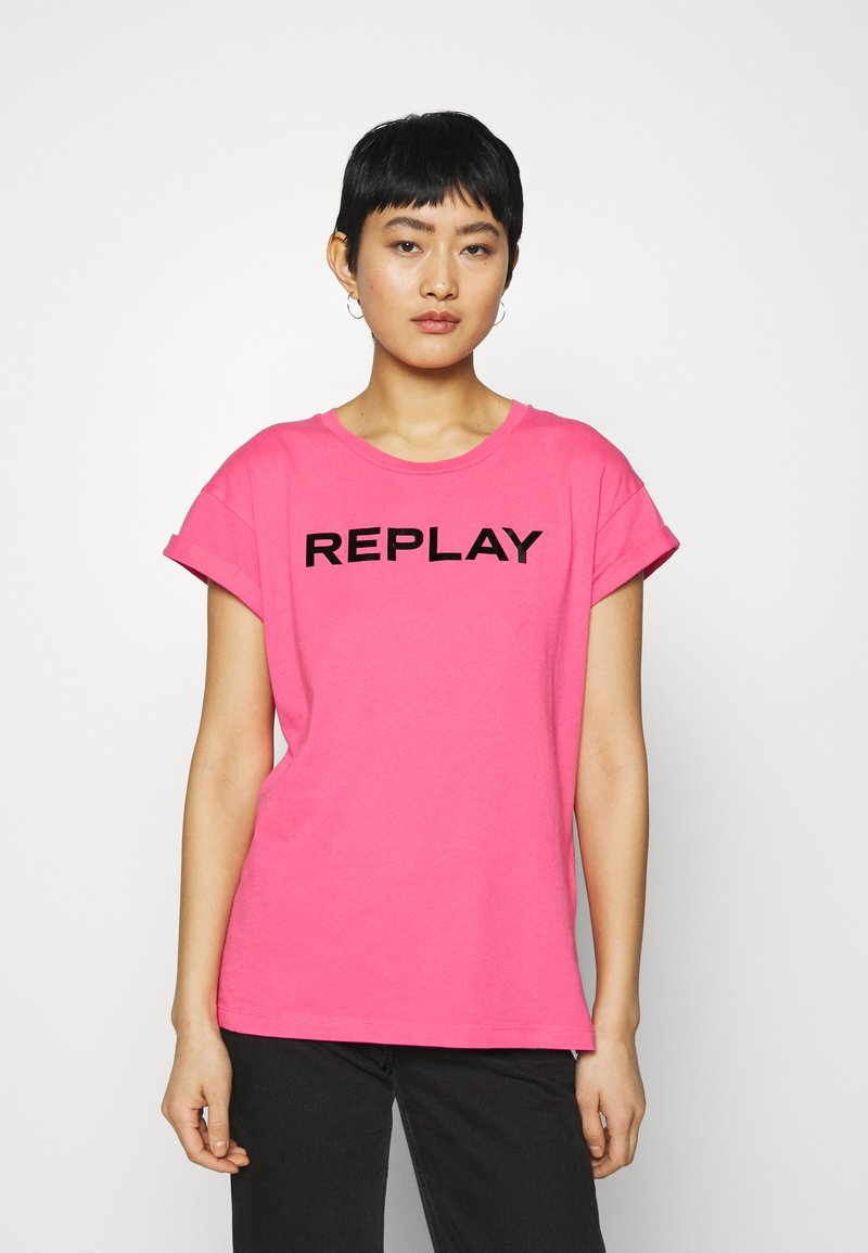 Replay - T-shirt con stampa - pink cyclamen