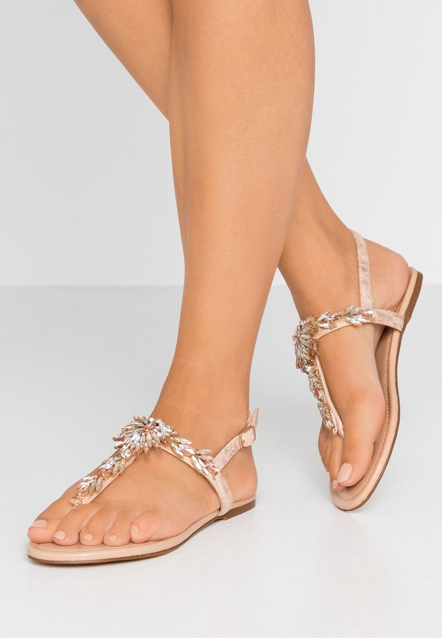 WIDE FIT BIANCA JEWEL EMBELLISHED TOEPOST - Tongs - rose gold