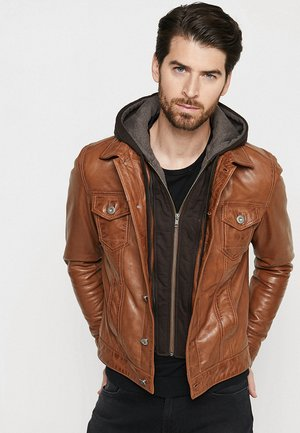 JEAN JACKET HOOD - Leather jacket - cognac