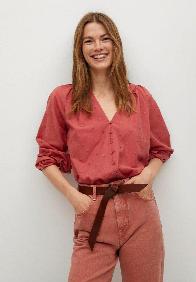 Button-down blouse - aardbeirood