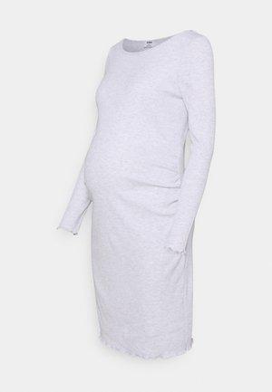 MATERNITY LETTUCE EDGE LONG SLEEVE DRESS - Jerseykjole - light grey marle