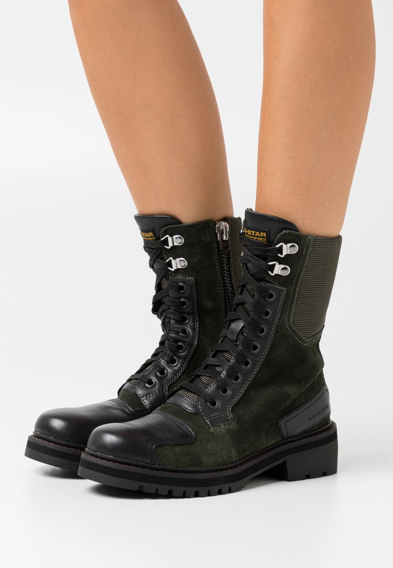 G-Star - DUTY UTILITY BOOT - Lace-up ankle boots - dark combat/black