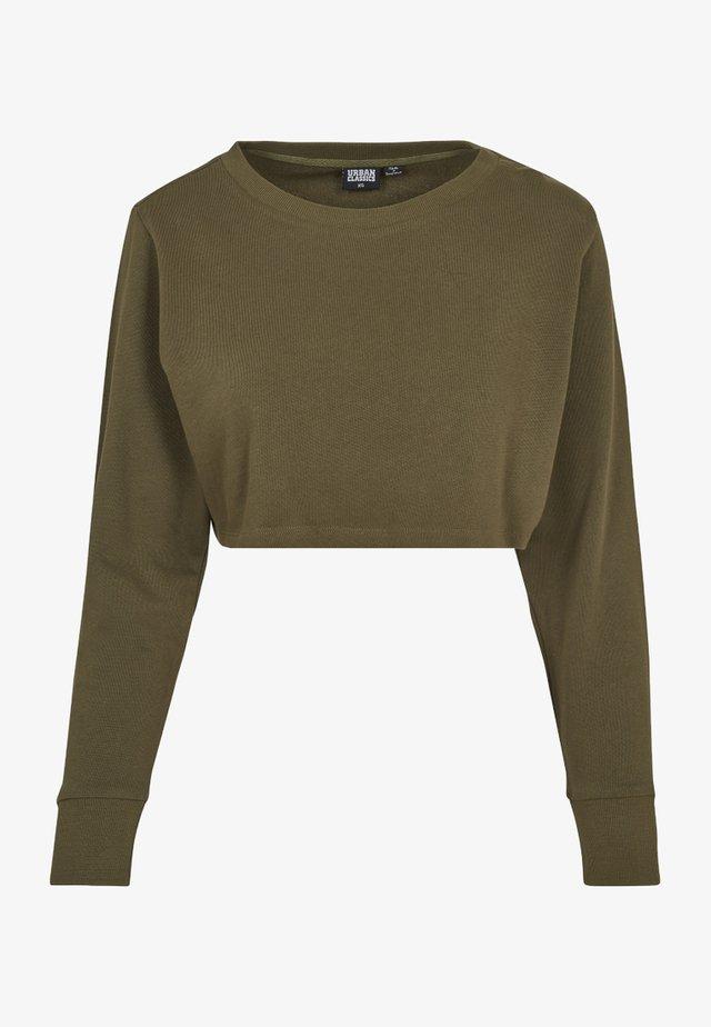 LADIES TERRY CROPPED CREW - Sweatshirt - olive