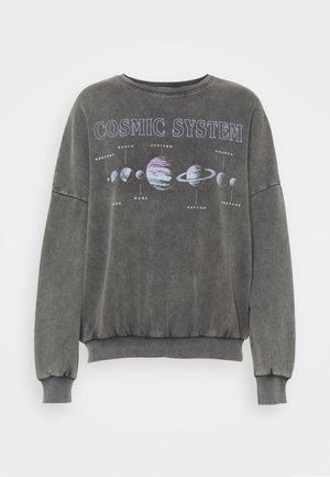 Printed Oversized Crew Neck Sweatshirt - Collegepaita - grey