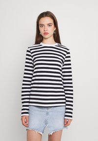 Pieces - Long sleeved top - black/bright white - 0