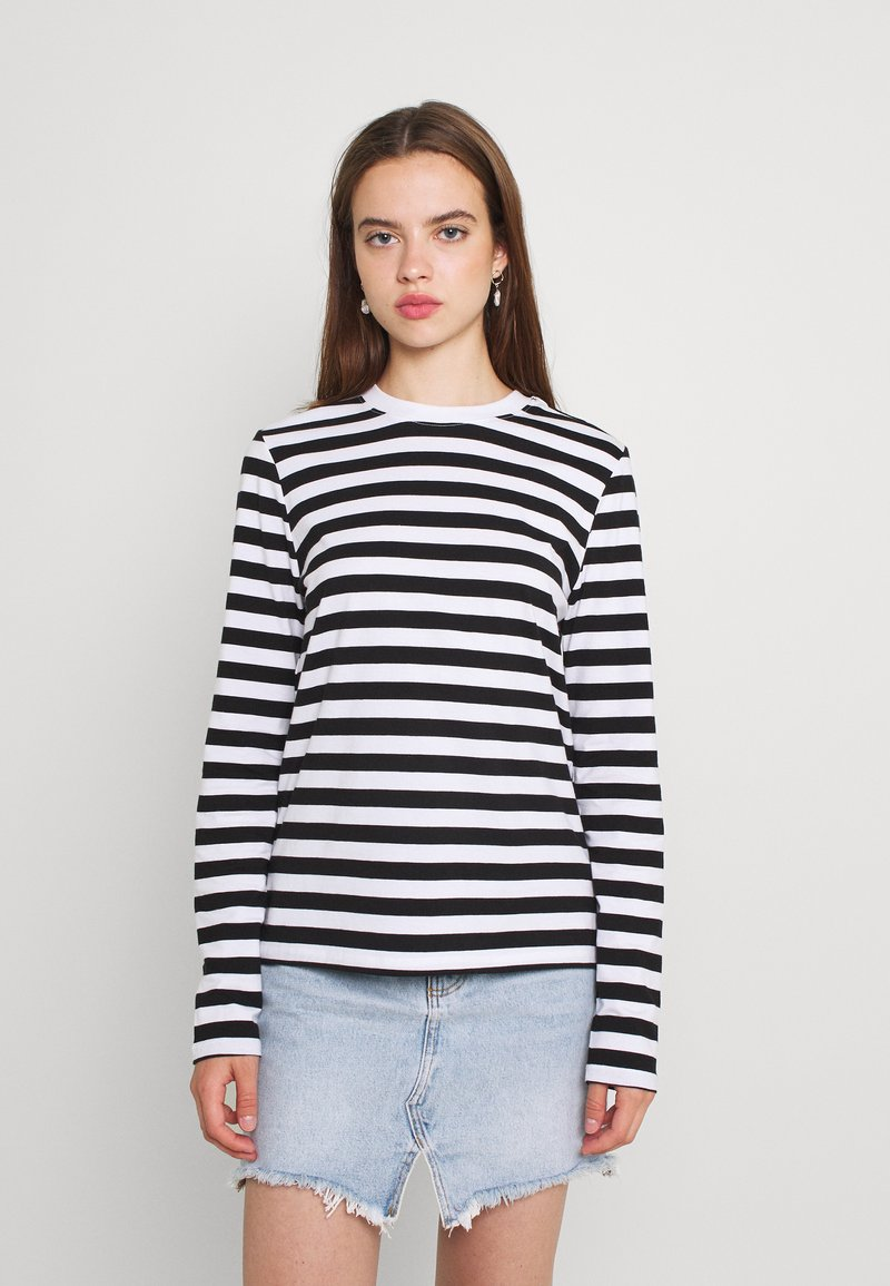 Pieces - Long sleeved top - black/bright white