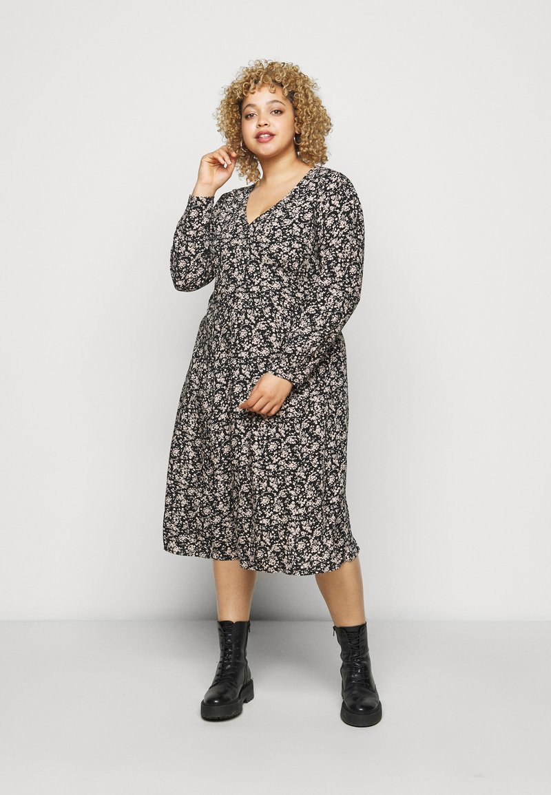 ONLY Carmakoma - CARCAN CALF DRESS  - Day dress - black/cement