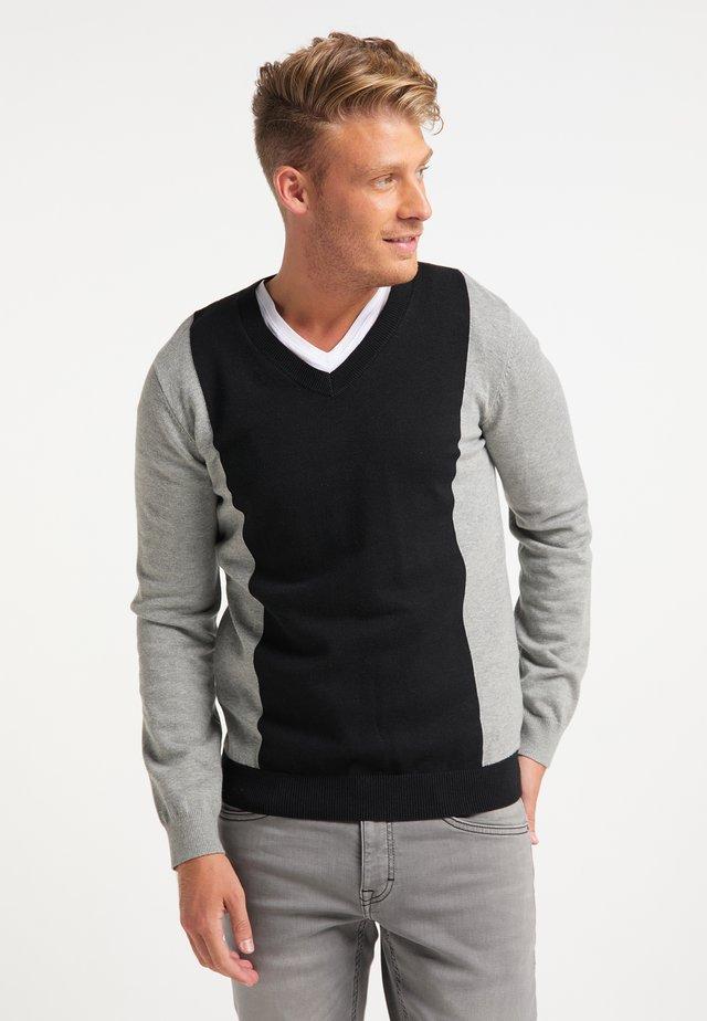Pullover - schwarz grau melange