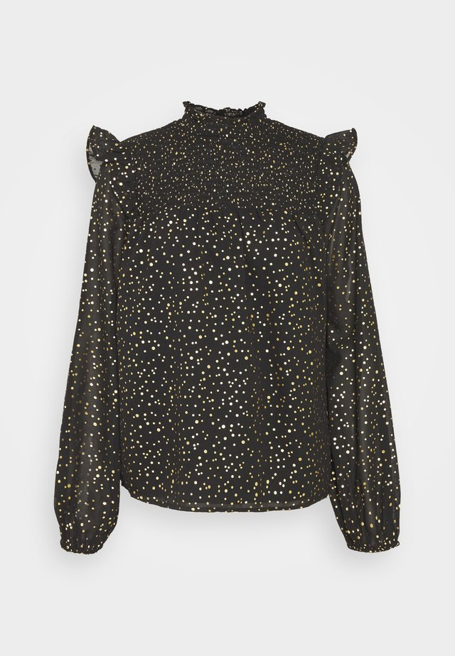SPOT RUFFLE LONG SLEEVE - Blouse - black