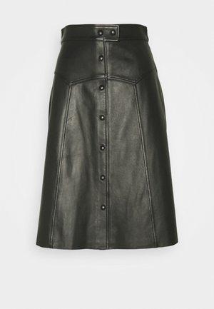 DELLA SKIRT - Kožená sukně - black