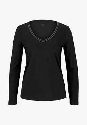 MIT V-AUSSCHNITT - Long sleeved top - deep black