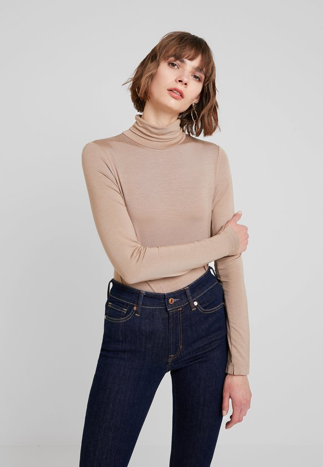 VENETIA SPLIT CUFF - Long sleeved top - classic camel