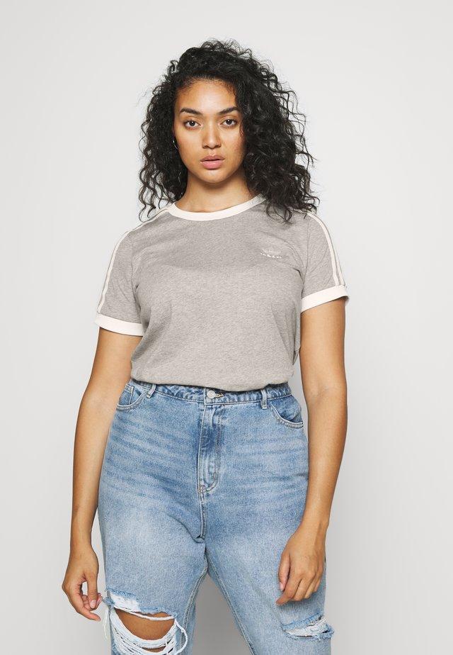 3 STRIPES TEE - Print T-shirt - medium grey heather