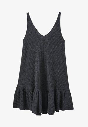AUSGESTELLTES TRÄGER MIT VOLANTS - Jersey dress - dark grey