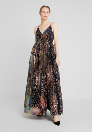 ALL OVER SEQUIN MAXI DRESS WITH THIGH SPLIT - Gallakjole - multi