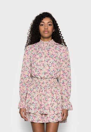 FLORAL HIGH NECK SHIRRED MINI DRESS - Day dress - multi