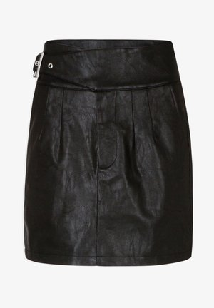 WITH BUCKLE - Pleated skirt - black