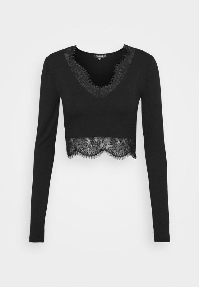 TRIM CROP TOP - Long sleeved top - black