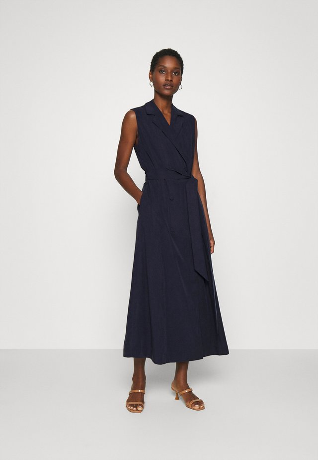 LAPEL COLLAR DRESS ANKLE LENGTH - Shift dress - navy blue
