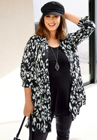 Sara Lindholm by HAPPYsize - Button-down blouse - schwarz off white - 2