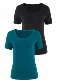 LASCANA - 2er-Pack - Basic T-shirt - petrol/schwarz - 0