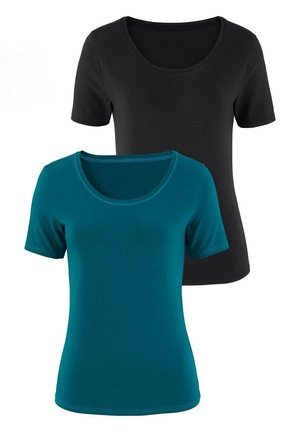2er-Pack - Basic T-shirt - petrol/schwarz