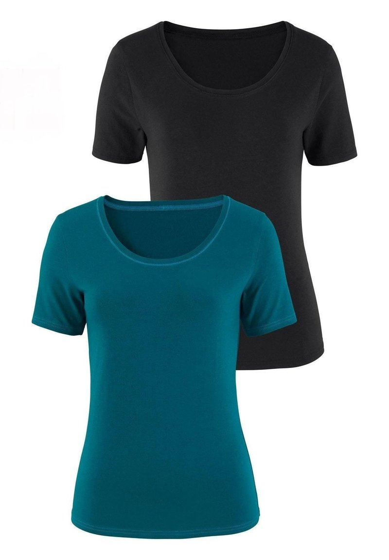 LASCANA - 2er-Pack - Basic T-shirt - petrol/schwarz