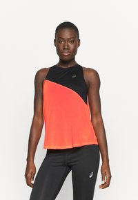 ASICS - TOKYO TANK - Sports shirt - performance black/flash coral - 0