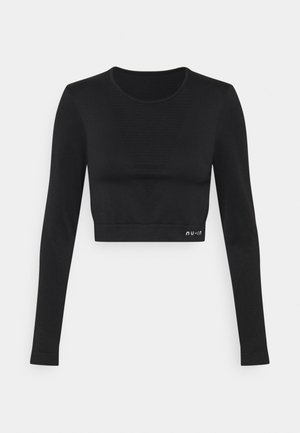 SEAMLESS LONG SLEEVE CROPPED - Long sleeved top - black