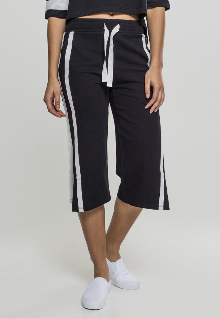 Urban Classics - LADIES TAPED TERRY CULOTTE - Tracksuit bottoms - black/white
