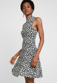 Dorothy Perkins - HIGH NECK BURNOUT FLORAL FIT FLARE - Jersey dress - black - 0
