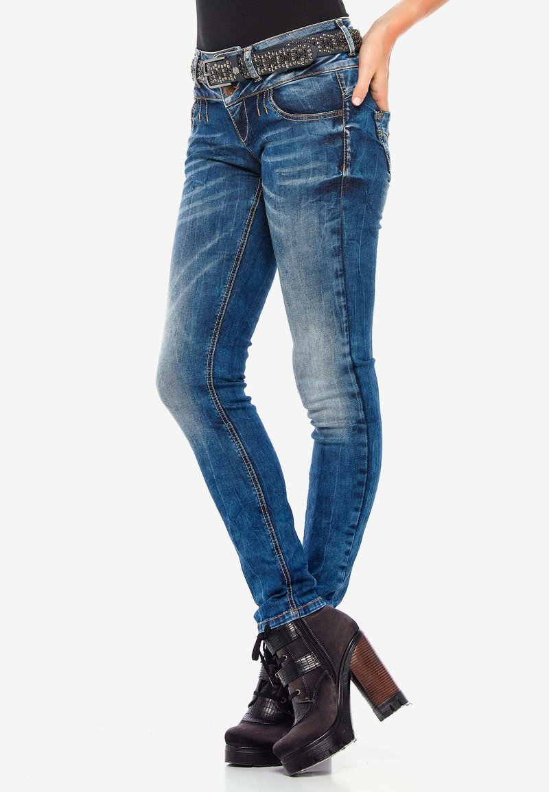 Cipo & Baxx - MIT COOLEM DOPPEL-BUND - Slim fit jeans - blau