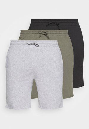 3 PACK - Pyjamahousut/-shortsit - black/mottled grey/khaki