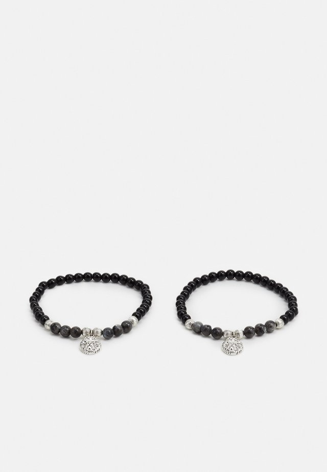 LION BEAD STRETCH BRACELET 2 PACK - Armband - black