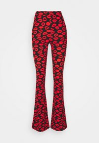 LIPS PEACHED FLARE  - Leggings - Trousers - black/red