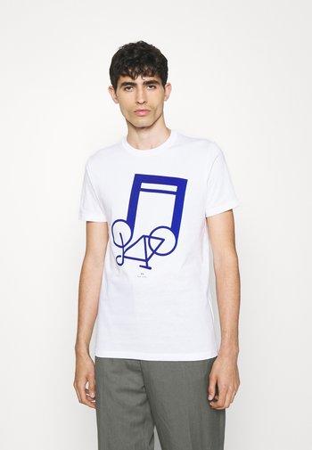 SLIM FIT NOTEBIKE - Print T-shirt - white