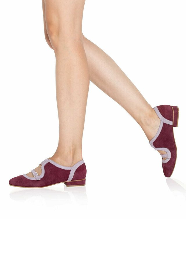Ankle strap ballet pumps - bordeaux/lilac